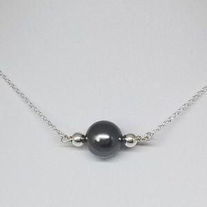 Sterling Silver Choker Grey Swarovski Pearl